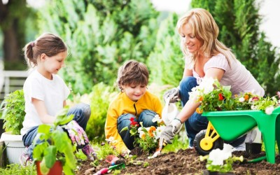Gardening with your kids.
