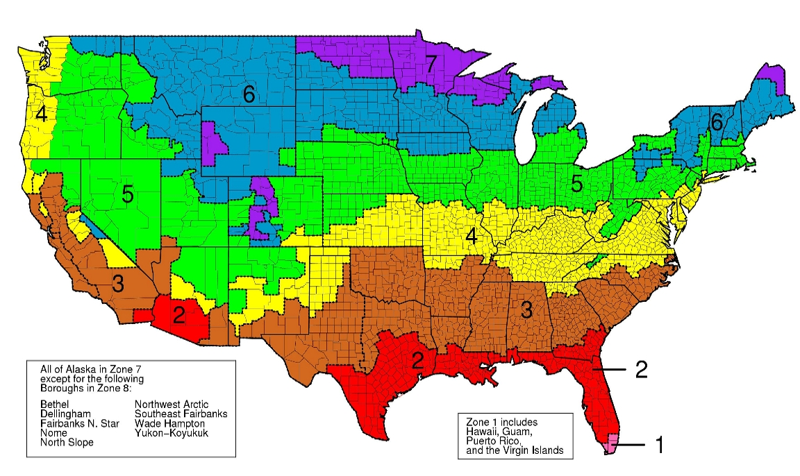 Gardeners Climate Map of USA